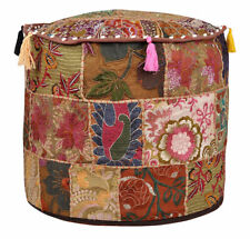 "Home Decor Pouffe Foot Pouff 18"" Bohemian Handmade Pouf Cover Ottoman Patchwork"