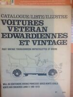 1970 Monte-Carlo Catalogue of Veteran Edwardian & Vintage Vehicles Auction Book