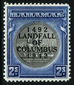 SG 172a BAHAMAS 1942 COLUMBUS - 2s BROWNISH BLACK & INDIGO - UNMOUNTED MINT