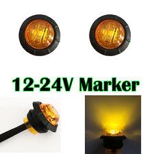 "2X 3/4"" Amber Round Side Marker LED Clearance Truck Trailer Boat Light Caravan"
