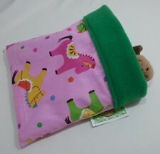 "Snuggle sack bag pink pony green Fleece 7"" x 7"" reversible hamster mouse rat"