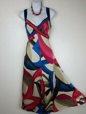 BNWT Monsoon Silk Dress size 12 Biaritz Pink Blue Scarf Print midi wedding £95