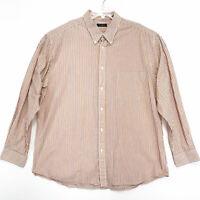 Club Room Shirt Mens Sz XXL 2XL Orange Stripe Long Sleeve Button Up 100% Cotton