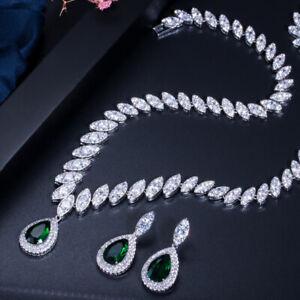 Top Emerald Green CZ Drop Necklace Earrings Bridal Wedding Evening Jewelry Set
