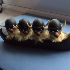 Vintage  Danish Vikings( Carl Dent?) Bottle Stopper Figures In Canoe.