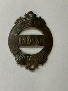 vintage bicycle early MADE FOR INDIEN head badge INDIAN AGENTS