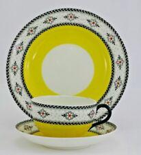 Royal Worcester china canary yellow tea trio Art Nouveau enamelled border 1918