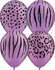 10 pc Neon Purple Safari Animal Print Latex Balloons Happy Birthday Party Jungle