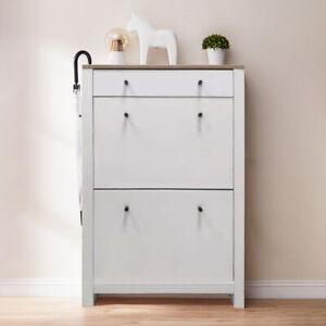 Shoe Cabinet Shoes Rack Storage Organiser Shelf Drawer 12 Pairs White