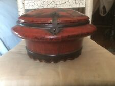 Antique Ornate Dowry Box, Handmade & Hand Painted, Signed, Red & Black , Wood