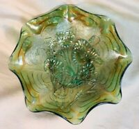 Carnival Glass 1910 Imperial Bowl Green with Arcs and Stippling