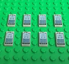 Lego X8 New Mini Figures Smartphone / Light Gray Tile With Cellphone Pattern Lot