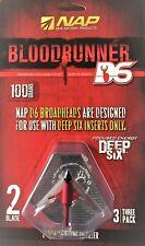 NAP Blood Runner Deep Six D6 100 Grain 2 Blade Broadheads 3 Pack -  USA Seller