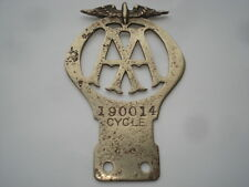 CWW1 VINTAGE A.A.(AUTOMOBILE ASSOCIATION)CYCLE MOTOR CYCLE BADGE