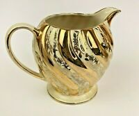 Vintage Sadler 1539 Creamer Pitcher Gold White Floral Swirl Bone China England