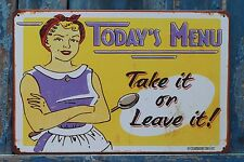 TODAY'S MENU Vintage Metal Poster Tin Signs Resturant Wall Decor