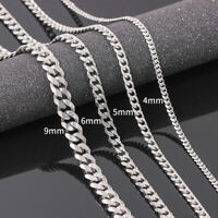Size 4-6mm Men's Necklace Stainless Steel Cuban Link Chain Hip Hop Jewelry NTAT