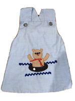 Vtg 80's Toddler Wrap Dress Sz 2 Cotton Embroidered Bear Blue Gingham Check