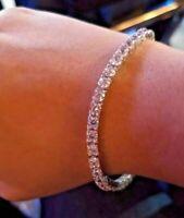 6.80 Ct Round Cut Stunning Real White Diamond Tennis Bracelet 14k White Gold