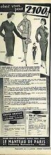 G- Publicité Advertising 1958 Vetements femme Le Manteau de Paris