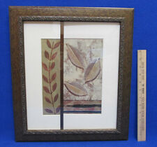 Leaves Picture Collage Framed Wall Hanging Modern Style Wood Look Plastic Frame
