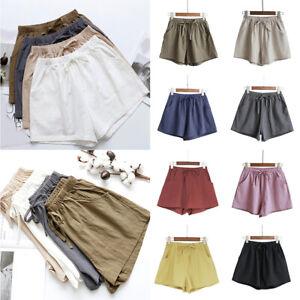 Fashion Women Female Casual Solid Short High Waist Elastic Waistband Short Pant