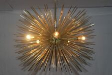 MID CENTURY MODERN BRASS SPHERE URCHIN SPUTNIK LIGHT FITTING CHANDELIER 5 BULBS