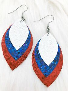 Patriotic Red White Blue Glitter Sparkler Faux Leather Earrings Triple Layer