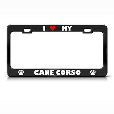 Cane Corso Paw Love Heart Pet Dog Metal License Plate Frame Tag Holder