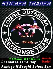 ZOMBIE OUTBREAK RESPONSE TEAM FUNNY Sticker HORROR DVD car 4x4 4WD Bomb decal