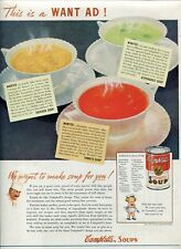 "Orig Campbell's Soup Magazine Ad ""Soup for you!"" The Amer Home Nov 1939 2-sided"
