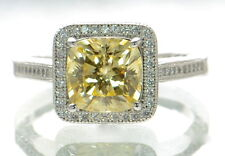 Solid 925 Sterling Cushion Cut Yellow & White Lab Simulated Diamond Ring Sz-9 '