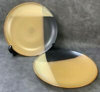 """LOT of 2 SANGO 5022 Gold Dust Black 10 3/4"""" DINNER PLATES Discontinued"""