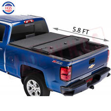 New 5.8 FT Hard Folding Tonneau Cover For 2014-2018 Chevy Silverado GMC Sierra