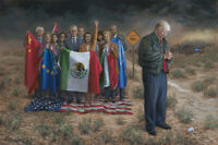 Jon McNaughton NATIONAL EMERGENCY 8x10  Donald Trump Border Control Print framed