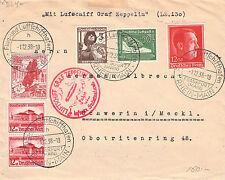 1. Postfahrt LZ 130 Zeppelin II in das Sudetenland 1938@Brief m.Mischfrankatur