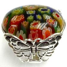 Art Nouveau Mariposa Millefiori cristal de Murano Anillo Tamaño de plata esterlina 925 - 8