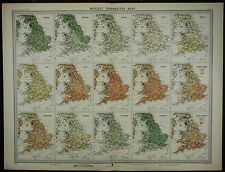 1903 ANTIQUE MAP ~ ENGLAND & WALES MONTHLY TEMPERATURE ANNUAL ACTUAL RANGE
