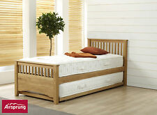 AIRSPRUNG Oaken Premium Solid Oak 3FT Guest Bed with Trundle