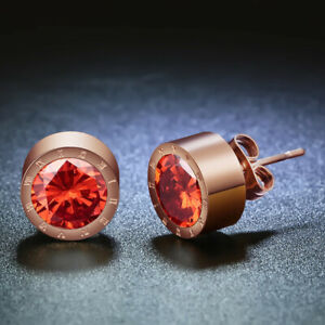 Women'S Rose Gold Round Red Crystal Anti Allergic Stainless Steel Earrings