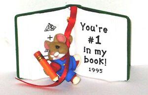 1995 Hallmark Keepsake Ornament Number One Teacher, Mouse With Open Book.