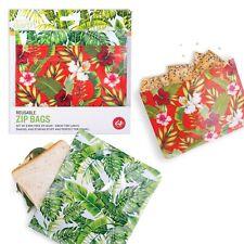 REUSABLE ZIP LOCK FOOD BAGS - Tropical Design - BPA Free - Set of 8 **NEW**
