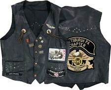 Vintage Harley Davidson Leather Vest Size Large 90s Motorcycle Pins Patches
