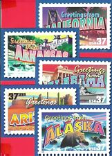 Set of 50 Statehood 25 cent postcards of Greetings of America Stamps pictured