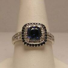 Sapphire and Diamond Halo Style Ring Set in 10K White Gold