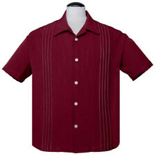Steady Clothing Rockabilly Vintage Bowling Shirt Hemd - The Otis Dunkelrot