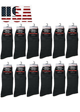 12 Pairs Mens All Black Dress Socks Fashion Casual Cotton Size 10-13(347-2L)