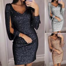 Women Casual V Neck Sequins Long Sleeve Tassel Slim Pencil Skirt Dress GDY7