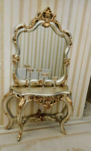 Platinum and gold leaf, Console and Mirror Set, directly from the manufacturer