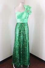 Tony Bowls Le Gala Green Sequin Beaded Prom Formal Dress One Shoulder Bow Sz 6